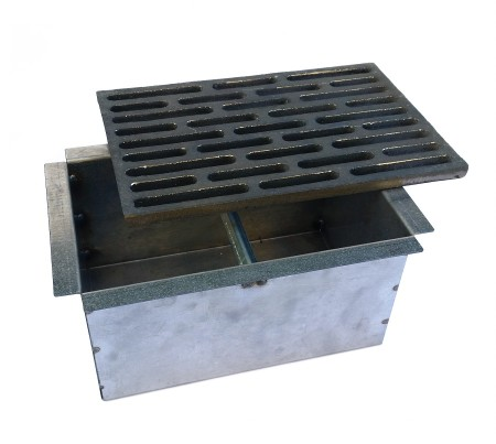 cassetto per cenere + griglia in ghisa per camino cm 20x30