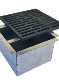 Kit griglia in ghisa 24×24 cod. M per camino + cassetto raccogli cenere h 14 cm