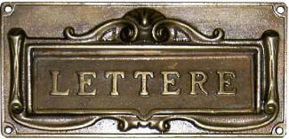 Feritoia per lettere in ottone brunito