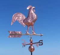 Gallo segnavento in rame ed ottone banderuola con punti cardinali