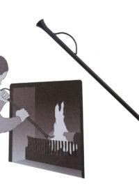 Attizzafuoco per camino soffione in ferro colore nero per barbecue fornacella