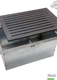 Griglia in ghisa per camino cm 20,6×30 con cassetto raccogli cenere h cm 14
