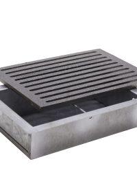 Kit griglia in ghisa 20,5×31,5 cod. L per camino + cassetto raccogli cenere h 7 cm