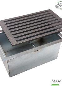 Kit griglia in ghisa 20,5×31,5 cod. L per camino + cassetto raccogli cenere h 14 cm